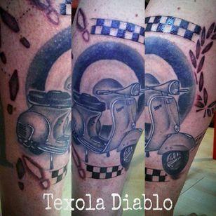 Vespa by Texola Voneville (via IG -- texolavondiablo) #TexolaVoneville #vespa #vespatattoo #scooter #scootertattoo