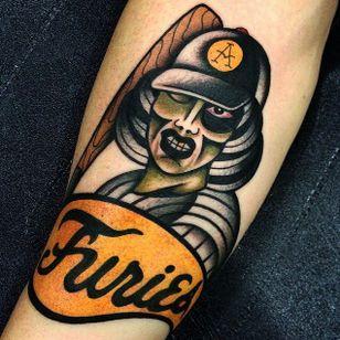 Awesome zombie baseball tattoo done by Giacomo Fiammenghi. #giacomofiammenghi #baseball #zombie #neotraditional #brightandbold #coloredtattoo