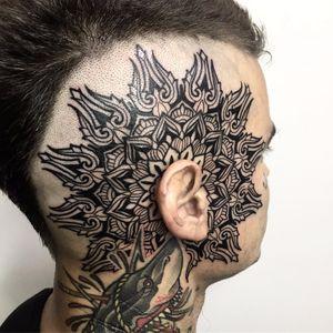 Ear mandala by Melow Perez #MelowPerez #blackwork #linework #mandala #pattern #ornamental #geometric #floral #trident #shapes #leaves #nature #tattoooftheday