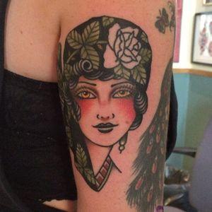 A gypsy lady head by Tony Nilsson (IG—tonybluearms). #color #gypsy #ladyhead #TonyNilsson #traditional