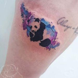 Panda Tattoo by Amanda Barroso #panda #pandatattoo #watercolor #watercolortattoo #watercolortattoos #brighttattoos #AmandaBarroso