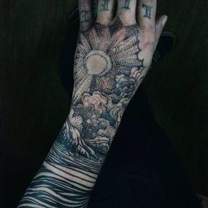 Tattoo by Noel'le Longhaul #NoelleLonghaul #linework #blackwork #dotwork #illustrative #nature #landscape #etching #forest #trees #mountains #moon #light #clouds #stars #water #river