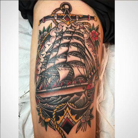 A kickass tattoo of a clipper bordered by an anchor via Chuck Donoghue (IG—chuckdtattoos). #anchor #clipper #ChuckDonoghue #GreenpointTattooCo #NYCtattooshops #traditional