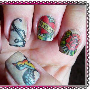 Nail Tattoo Art by Gnarly Nails #GnarlyNails #NailTattoo #NailArt #NailTattoos #TattooFashion