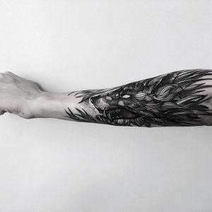 Wolf Tattoo by Vladimir Pride #wolf #blackwork #blackink #blackworkartist #darkart #blackworkartist #VladimirPride
