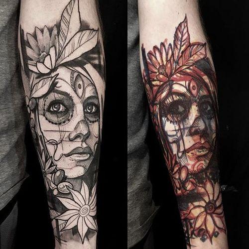 Sugaskull woman tattoo by Mike Riina. #MikeRiina #sketch #blackandgrey #portrait #woman