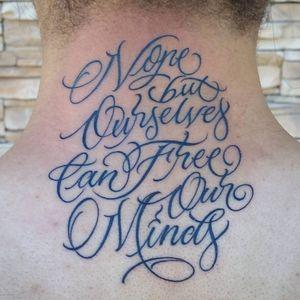"A line from Bob Marley's ""Redemption Song"" by David ""Vandal"" Ruiz (IG—vandaltattoos). #BobMarley #DavidVandalRuiz #lettering #script #typography"