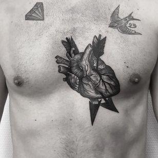 Heart Tattoo by Johannes Folke #heart #blackworkheart #blackwork #blackink #illustrative #JohannesFolke