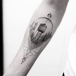 Water Tower Tattoo by Balazs Bercsenyi @balazsbercsenyi #balazsbercsenyi #micro #watertower #microtattoo #dotwork #linework