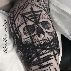 Skull tattoo by Mike Riina. #MikeRiina #sketch #blackandgrey #skull