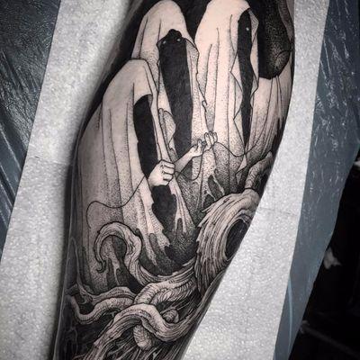Oracles by Rob Borbas #RobBorbas #blackwork #dotwork #linework #fineline #hands #monster #ghost #demon #oracle #wizard #death #time #forest #dark #darkart #tattoooftheday