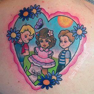 Friends Tattoo by Sam Whitehead @Samwhiteheadtattoos #Samwhiteheadtattoos #Colorful #Girly #Girlytattoo #Neotraditional #Blindeyetattoocompany #Leeds #UK