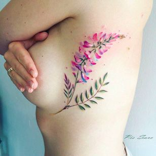 Flowers and LEaves Tattoo by Pis Saro @Pissaro_tattoo #PisSaro #PisSaroTattoo #Nature #Watercolor #Naturetattoo #Watercolortattoo #Botanical #Botanicaltattoo #Crimea #Russia