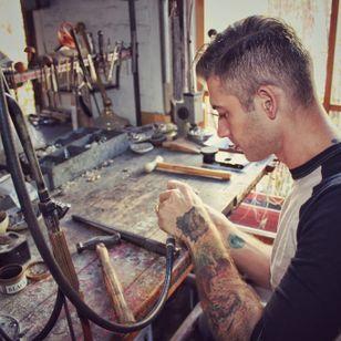 Artist Aaron Ruff of Digby and Iona. Photo by Jessica Paige #jeweler #jewelry #digbyandiona #oneofakind #AaronRuff