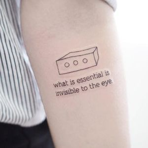 The Little Prince tattoo by Sey8n #Sey8n #movietattoos #linework #quote #text #simple #Minimal #small #tiny #box #TheLittlePrince #sheep #enlightenment #literature #childrensbooks #film #tattoooftheday