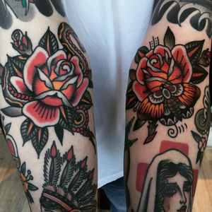 Roses by Moira Ramone #MoiraRamone #traditional #color #roses #leaves #nature #flowers #floral #moth #snake #wings #rosebud #butterfly #tattoooftheday