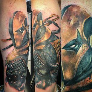 Deathstroke Tattoo by Bronson Black #Deathstroke #DeathstrokeTattoos #DeathstrokeTattoo #DCComics #DCTattoos #ComicTattoos #DCTattoos #VillainTattoos #BronsonBlack