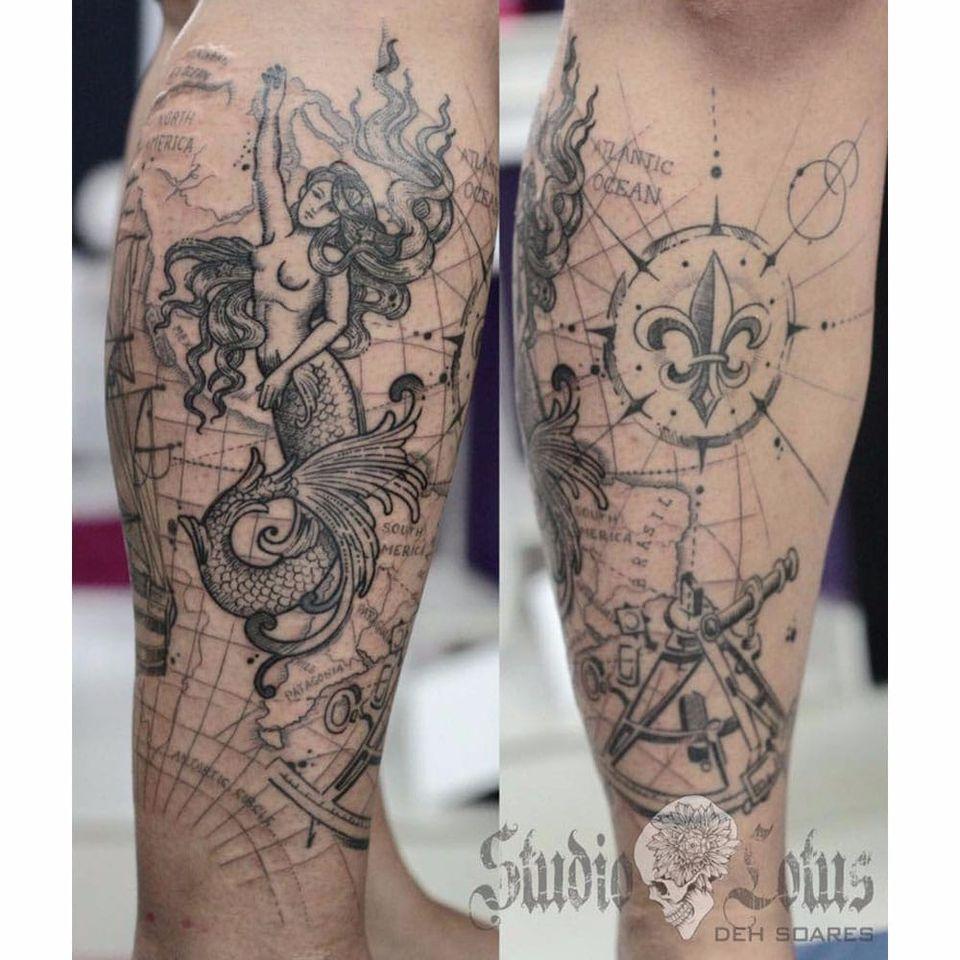 Por Deh Soares! #DehSoares #TatuadorasBrasileiras #mermaid #sereia #compasso #mapamundi #map