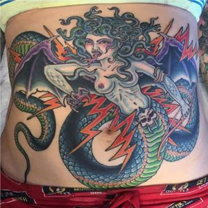 Ben Siebert's (IG—bensiebert) Medusa could turn any man into stone. #BenSiebert #bold #colorful #Medusa #traditional