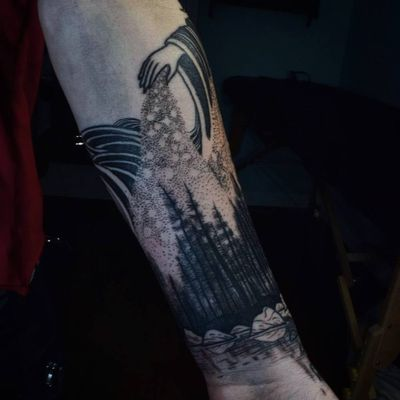 Tattoo by Noel'le Longhaul #NoelleLonghaul #linework #blackwork #dotwork #illustrative #nature #landscape #etching #hand #stars #forest #trees #water #reflection #galaxy