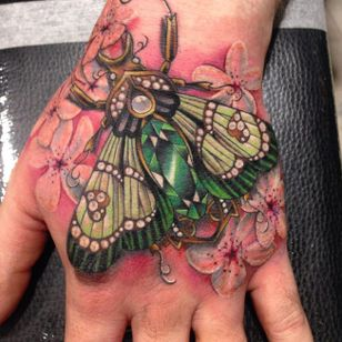 Jewelled tattoo by Amy Autumn #AmyAutumn #beetle #moth #cherryblossom #flower #realism #colour