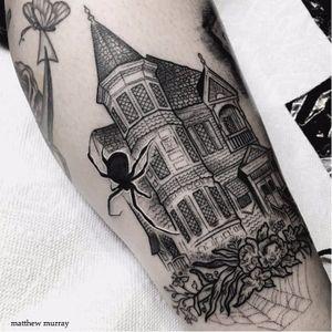 Blackwork house tattoo by Matthew Murray. #MattMurray #blackwork #dark #macabre #blackveilstudio #house