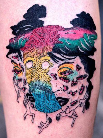 Whats within. Tattoo by Julian Llouve #JulianLlouve #color #linework #illustrative #surreal #cyberpunk #circuitboard #eyes #bodies #rainbow #portrait #ladyhead