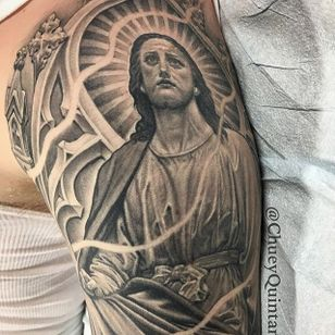 Jesus. (via IG - chueyquintanar) #blackandgrey #religious #religioustattoo #chueyquintanar #Jesus
