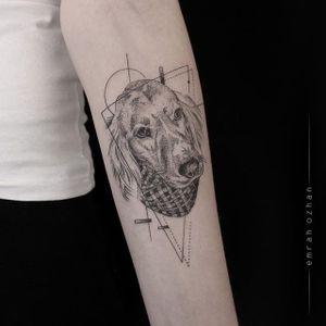 A pointalist portrait of a dog by Emrah Ozhan (IG—emrahozhan). #blackwork #blackwork #dog #dotwork #EmrahOzhan #geometric #illustrative #linework #minimalist