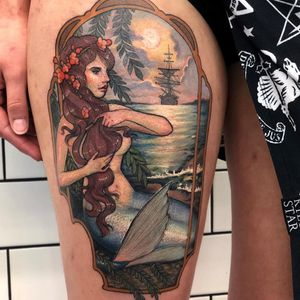 Mermaid tattoo by Hannah Flowers #HannahFlowers #ArtNouveautattoo #color #neotraditional #mermaid #lady #ocean #beach #ship #sky #landscape #flowers #floral #window #nature #clouds #waves