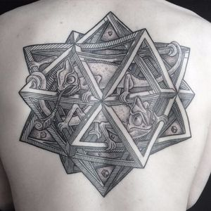 M.C. Escher inspired tattoo by Seth Arcane #SethArcane #escher #geometric #art #chameleon