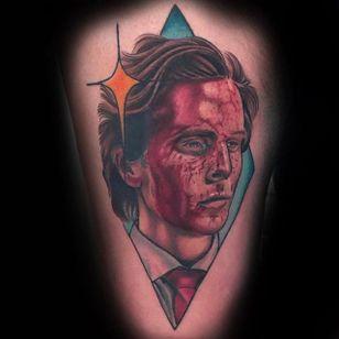 American Psycho Tattoo by Matt Youl @Theyoul #Mattyoultattoo #Neotraditional #Nerdytattoo #Portrait #Americanpsycho #ChristianBale