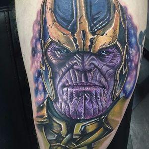 Thanos Tattoo by Alex Rattray #Thanos #thanostattoos #thanostattoo #marveltattoo #supervillaintattoo #supervillains #comictattoos #AlexRattray