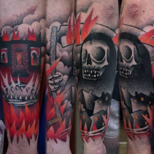 Black and red semi-abstract tattoo by Łukasz Sokołowski. #LukaszSokolowski #semiabstract #blackandred #abstract #graphic #conceptual #grimreaper