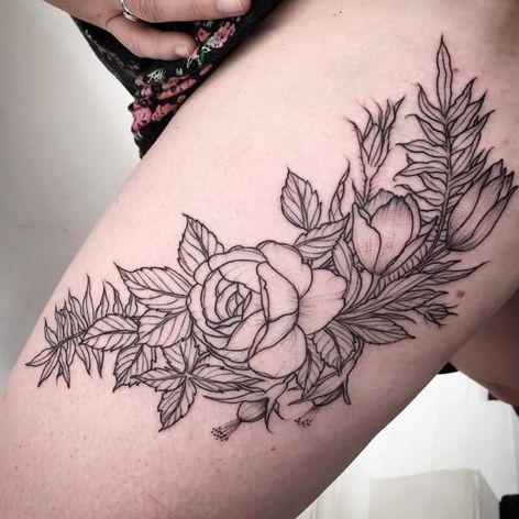 Black linework flower tattoo by Harriet Hapgood #HarrietHapgood #flowers #blackwork #linework