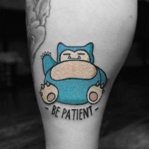 Snorlax Tattoo, artist unknown #snorlax #snorlaxtattoo #snorlaxtattoos #pokemon #pokemontattoo #pokemongo #pokemongotattoo
