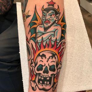 Devil and skull tattoo by Dan Santoro #DanSantoro #demontattoos #color #traditional #demon #devil #satan #hell #wings #horns #star #skull #crossbones #skeleton #death #fire