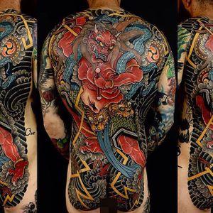 Raijin Tattoo by Damien Rodriguez #Japanesetattoo #Japanese #AsianTattoos #DamienRodriguez