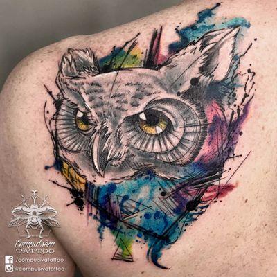 #MayaraCompulsiva #tatuadorasdobrasil #coruja #owl #aquarela #watercolor