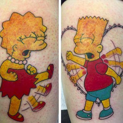 One of the best Bart and Lisa scenes in Simpsons history, preserved in ink on siblings. Tattoos by Cheryl Tash (via IG -- cheryldoestattoos) #siblingtattoo #CherylTash #Simpsons