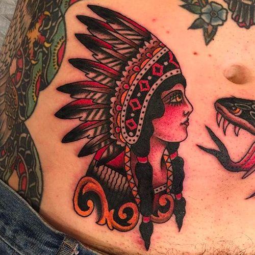 Native American girl head tattoo by Zach Nelligan. #ZachNelligan #MainStayTattoo #traditionaltattoo #classic #nativeamericangirl  #girlhead
