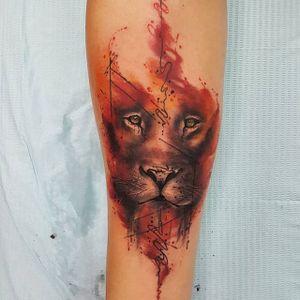 Watercolor lion tattoo by Smel Wink. #watercolor #SmelWink #li on #feline #bigcat #abstract