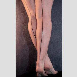 Stocking line tattoo, artist unknown. #stockings #line #seamline #seam #minimalist