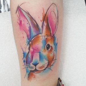 Rabbit Watercolor Tattoo by Josie Sexton #Watercolor #WatercolorTattoo #WatercolorTattoos #WatercolorArtists #WatercolorDesigns #WatercolorInspiration #JosieSexton