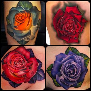 Colorful Roses Tattoo by Andrés Acosta @Acostattoo #AndrésAcosta #Acostattoo #Rose #Rosetattoo #Rosetattoos #Austin