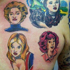 Pop star tattoos (spot Ginger spice!) on @purplepieman78 #popstartattoos #gingerspice #gerihaliwell #spicegirlstattoo #spicegirls