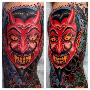 Vibrant demon head tattoo done by Jason Brooks. #JasonBrooks #GreatWaveTattoo #boldtattoos #TraditionalTattoo #demon #devilhead