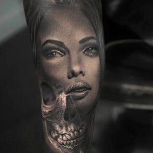 Skull girl tattoo by Alexander D. West #AlexanderDWest #blackandgrey #realistic #3D #portrait #skull #lady