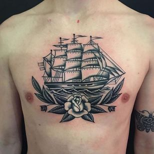 Ship tattoo combined with a rose via @christianlanouette #ChristianLanouette #ship #rose #blackwork
