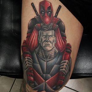 Deadpool and Colossus by Matt Trybom #Colossus #Deadpool #XMen #MarvelTattoos #SuperheroTattoos #MattTrybom
